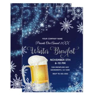 Winter Brew-Fest Beer Party Wonderland Blue White Card