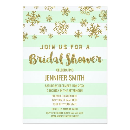 Winter Bridal Shower Mint Stripes Gold Snowflakes Card