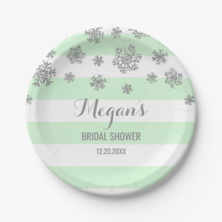 Winter Bridal Shower Plate Mint Stripe Silver Snow