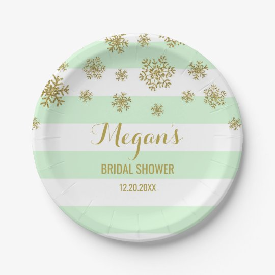 Winter Bridal Shower Plate Mint Stripes Gold Snow