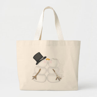 WINTER BRIDE & GROOM Snowman Couple TOTE
