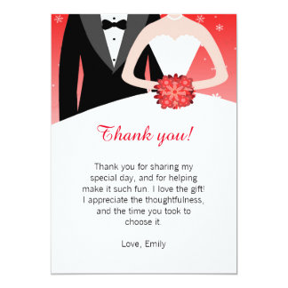 Winter Bride Groom Thank You Card Note 13 Cm X 18 Cm Invitation Card