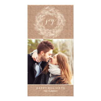 WINTER BURLAP | JOY | STYLISH HOLIDAY CARD CUSTOM PHOTO CARD