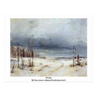 Winter By Sawrassow Alexej Kondratjewitsch Postcard