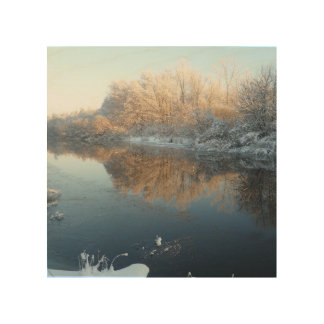Winter by the River Wood Prints
