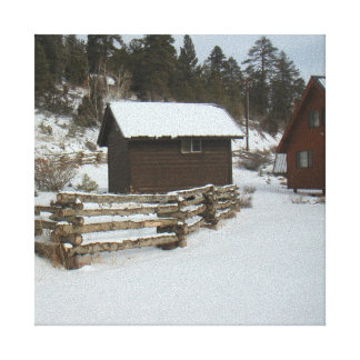 Winter Cabin and Log Fence Canvas Prints