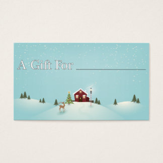 Winter Cabin Gift Tag Business Card