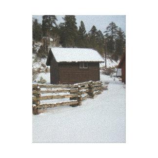 Winter Cabin Log Fence Snow Canvas Print