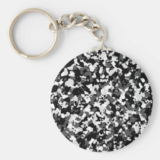 Winter camo pattern basic round button key ring