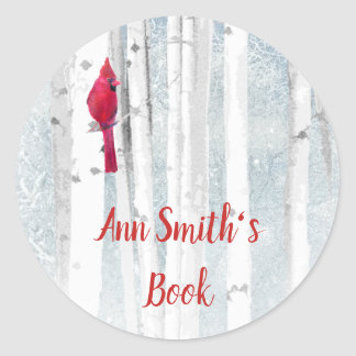 Winter Cardinal Bird Book Plate to Customize Classic Round Sticker