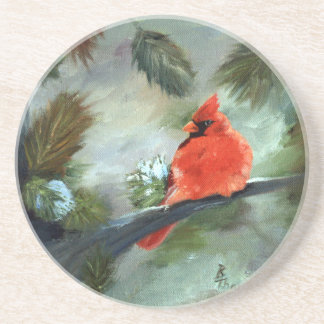 Winter Cardinal Coasters