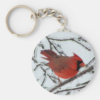Winter Cardinal Key Ring