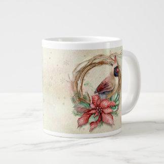 Winter Cardinal with Poinsettia - Snow Large Coffee Mug