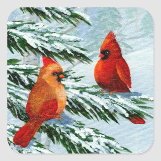 Winter Cardinals Birds Snow Creationarts Square Sticker
