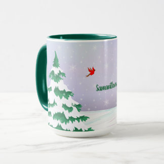 Winter Cardinals Christmas Greeting Mug