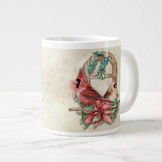 Winter Cardinals Pair with Poinsettia Large Coffee Mug