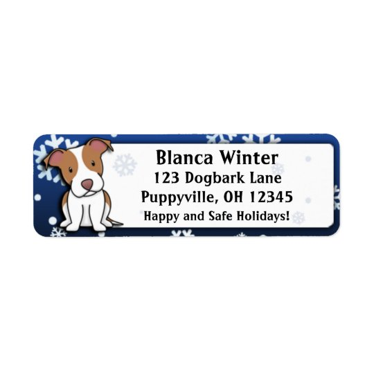 Winter Cartoon American Pit Bull Terrier Return Address Label