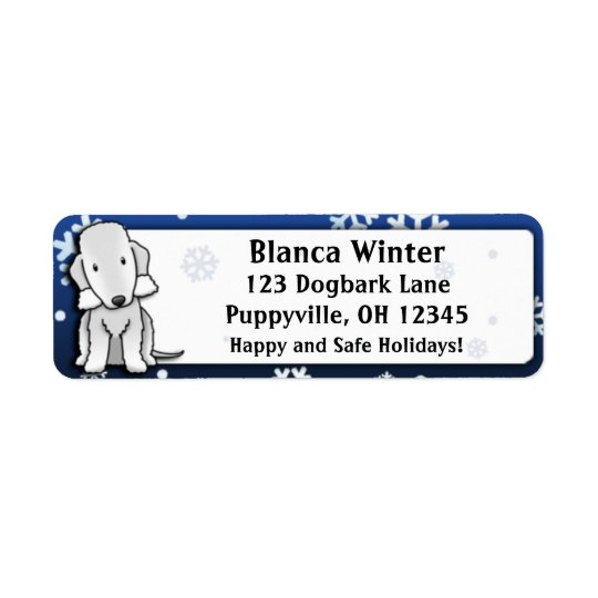 Winter Cartoon Bedlington Terrier Return Address Label