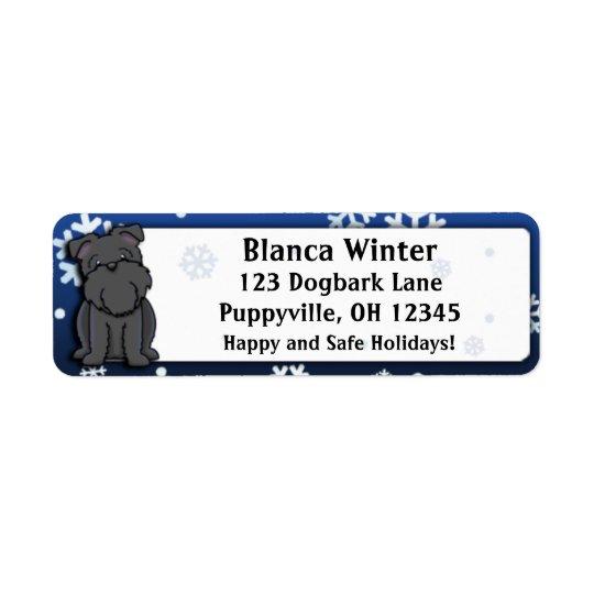 Winter Cartoon Black Brussels Griffon Return Address Label