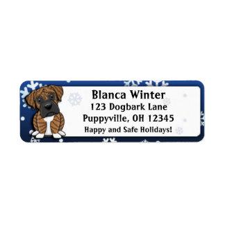 Winter Cartoon Brindle Boxer Return Address Label