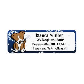 Winter Cartoon Brown Border Collie Return Address Label