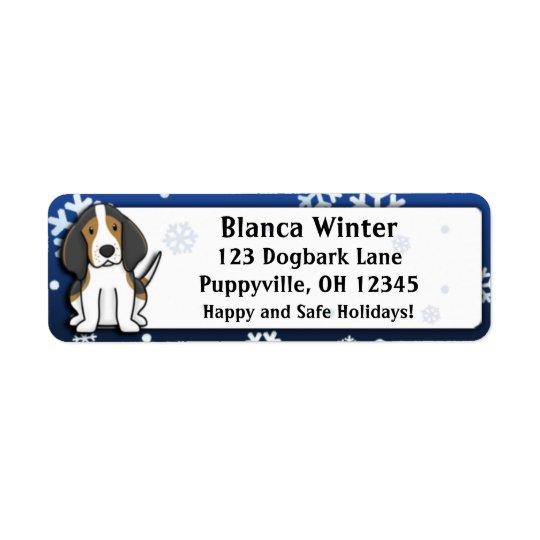 Winter Cartoon Treeing Walker Coonhound Return Address Label