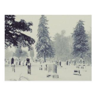 Winter Cemetery Postcard