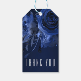 Winter Chic Floral Blue Rose Bold Wedding Favor Gift Tags