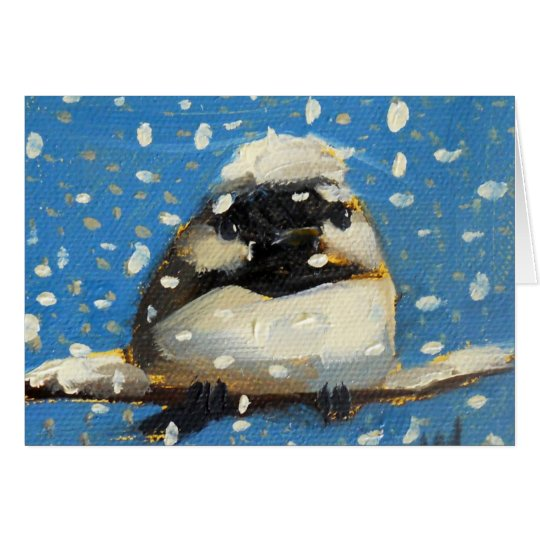 Winter Chickadee with Snowflakes Card