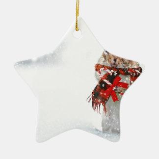 Winter Chipmunk Knit Hat Red Scarf Bundled Up Ceramic Ornament