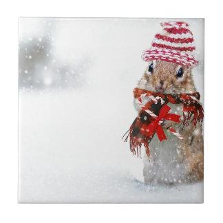 Winter Chipmunk Knit Hat Red Scarf Bundled Up Ceramic Tile