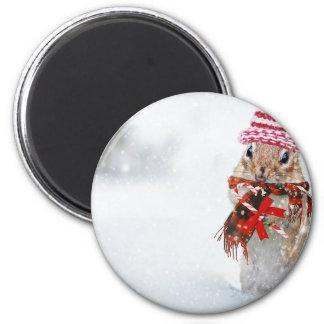 Winter Chipmunk Knit Hat Red Scarf Bundled Up Magnet