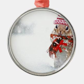 Winter Chipmunk Knit Hat Red Scarf Bundled Up Metal Ornament
