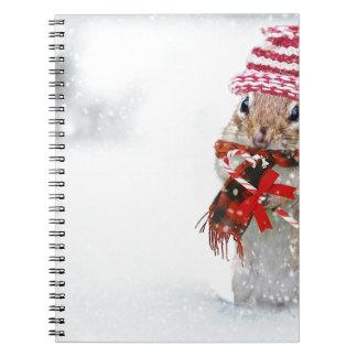 Winter Chipmunk Knit Hat Red Scarf Bundled Up Notebook