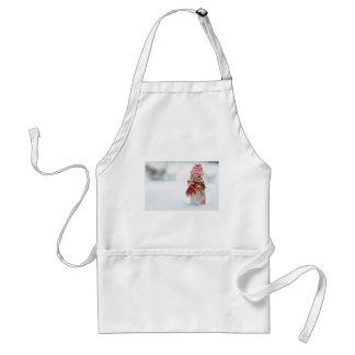 Winter Chipmunk Knit Hat Red Scarf Bundled Up Standard Apron