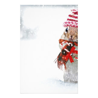 Winter Chipmunk Knit Hat Red Scarf Bundled Up Stationery