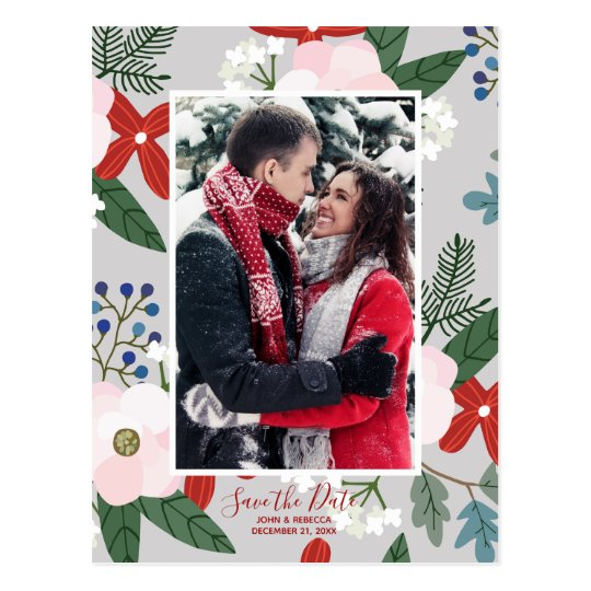 winter christmas floral save the date postcard