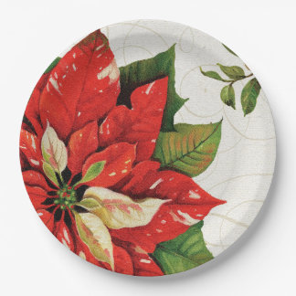 Winter Christmas poinsettia paper plates