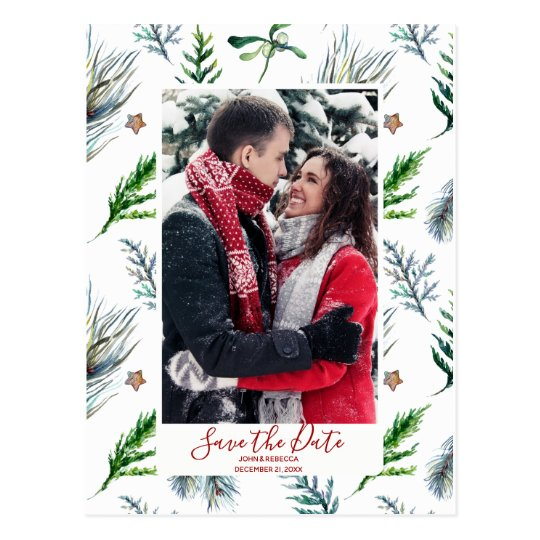 winter christmas save the date postcard