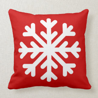 Winter Christmas Snowflake Red Custom Color Cushion