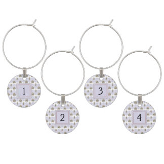 Winter Christmas Tree Pattern With Initial Wine Glass Charms