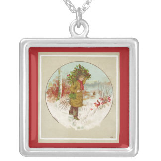 Winter Christmas Tree Silver Plated Necklace