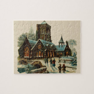 Winter Church At Christmas Vintage Illustration Jigsaw Puzzle