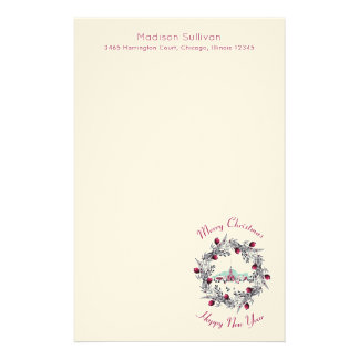 Winter Church with Christmas Wreath Personalized Stationery