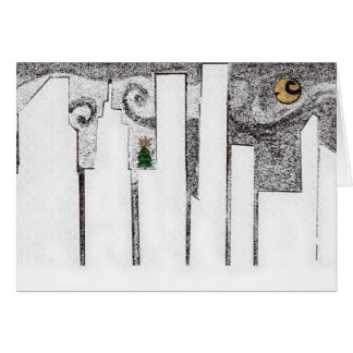 Winter cityscape with tree card