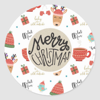 Winter Cold Holiday Christmas Rustic Kraft Favor Classic Round Sticker