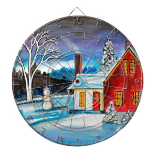 Winter Cottage with snowman Holiday Christmas art Dartboard
