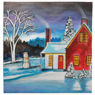 Winter Cottage with snowman Holiday Christmas art Napkin