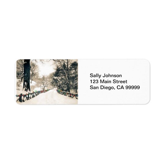 Winter Country Road with Colourful Xmas Lights Return Address Label