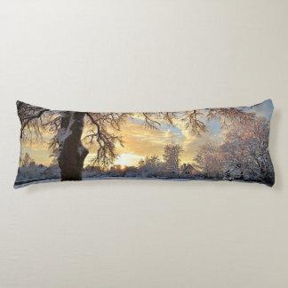 Winter Countryside In Latvia Body Cushion